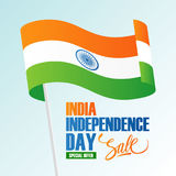 Έμβλημα πώλησης διακοπών ημέρας της ανεξαρτησίας της Ινδίας με την κυματίζοντας ινδική εθνική σημαία Στοκ Φωτογραφία