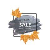 Έμβλημα πώλησης με τα φύλλα φθινοπώρου επίσης corel σύρετε το διάνυσμα απεικόνισης Στοκ φωτογραφία με δικαίωμα ελεύθερης χρήσης