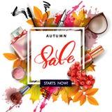 Έμβλημα πώλησης με τα φύλλα φθινοπώρου, τα καλλυντικά και τα μούρα του Rowan διάνυσμα διανυσματική απεικόνιση
