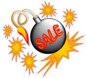 Έμβλημα πώλησης με τη βόμβα και τα αστέρια Στοκ φωτογραφίες με δικαίωμα ελεύθερης χρήσης