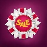 Έμβλημα πώλησης Σημάδι μεταλλίων με τις κορδέλλες μεταξιού Στοκ Εικόνες