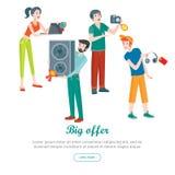 Έμβλημα πώλησης υπεραγορών οικιακές συσκευές Στοκ Φωτογραφία