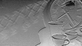 Έμβλημα ρολογιών και φλυτζανιών Στοκ Φωτογραφία