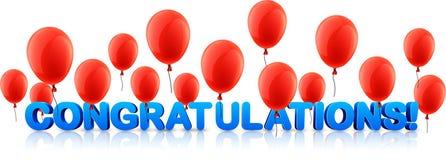 Έμβλημα συγχαρητηρίων με τα κόκκινα μπαλόνια ελεύθερη απεικόνιση δικαιώματος