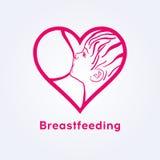 Έμβλημα συνασπισμού θηλασμού, λογότυπο εβδομάδας θηλασμού Στοκ Εικόνες