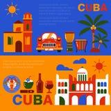 Έμβλημα ταξιδιού της Κούβας Αβάνα διανυσματική απεικόνιση