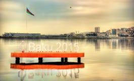 Έμβλημα των ευρωπαϊκών αγώνων του «Μπακού 2015» στη Κασπία Θάλασσα κοντά στο Μπακού στις 7 Ιανουαρίου 2016 Στοκ Εικόνες