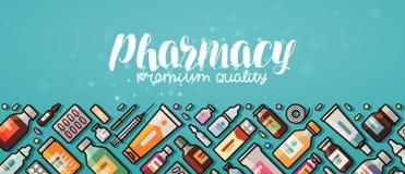 Έμβλημα φαρμακείων Ιατρική, ιατρικά εφόδια, έννοια νοσοκομείων Διανυσματική απεικόνιση στο επίπεδο ύφος διανυσματική απεικόνιση