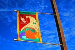 Έμβλημα φεστιβάλ συγκομιδών με το μπλε ουρανό Στοκ Εικόνα