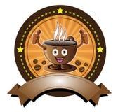 Έμβλημα φλυτζανιών καφέ χαμόγελου κινούμενων σχεδίων Στοκ φωτογραφία με δικαίωμα ελεύθερης χρήσης