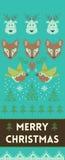 Έμβλημα Χαρούμενα Χριστούγεννας με τα deers και τις αλεπούδες στο πλεκτό ύφος ελεύθερη απεικόνιση δικαιώματος
