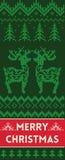 Έμβλημα Χαρούμενα Χριστούγεννας με τα deers στο πλεκτό ύφος ελεύθερη απεικόνιση δικαιώματος