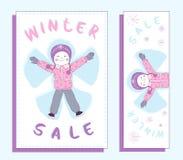 Έμβλημα χειμερινής πώλησης με το χαριτωμένο κορίτσι Στοκ φωτογραφία με δικαίωμα ελεύθερης χρήσης