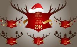 Έμβλημα Χριστουγέννων με τα κόκκινα κέρατα Στοκ Εικόνες