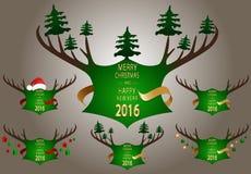 Έμβλημα Χριστουγέννων με τα πράσινα κέρατα Στοκ Εικόνα