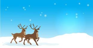 Έμβλημα Χριστουγέννων με τους διανυσματικούς ταράνδους Στοκ Εικόνες
