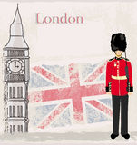 Έμβλημα Grunge με το Λονδίνο ελεύθερη απεικόνιση δικαιώματος