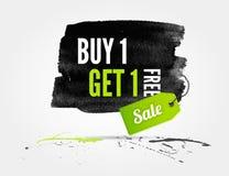 Έμβλημα watercolor πώλησης με τους παφλασμούς Στοκ φωτογραφίες με δικαίωμα ελεύθερης χρήσης