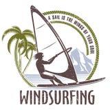 Έμβλημα Windsurfing σε ένα άσπρο υπόβαθρο Στοκ Εικόνες