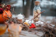 Έμπνευση αποκριών ζωή φθινοπώρου ακόμα κολοκύθα, ξηρά τριαντάφυλλα, κέικ μελιού viburnum σε ένα βάζο κλαδίσκοι Στον πίνακα στοκ εικόνα