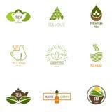 Έμπνευση λογότυπων για τα καταστήματα, επιχειρήσεις, που διαφημίζουν με το τσάι απεικόνιση αποθεμάτων