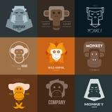 Έμπνευση λογότυπων για τα καταστήματα, τις επιχειρήσεις, τη διαφήμιση ή τις άλλες επιχειρήσεις με τον πίθηκο απεικόνιση αποθεμάτων