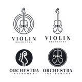 Έμπνευση σχεδίου λογότυπων βιολιών/βιολοντσέλων τέχνης γραμμών - διανυσματική απεικόνιση διανυσματική απεικόνιση