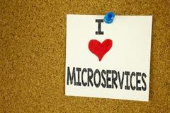 Έμπνευση τίτλων κειμένων γραψίματος χεριών που παρουσιάζει έννοια Microservices αγάπης Ι που σημαίνει την αγάπη υπηρεσιών μικροϋπ Στοκ εικόνες με δικαίωμα ελεύθερης χρήσης