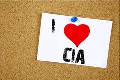 Έμπνευση τίτλων κειμένων γραψίματος χεριών που παρουσιάζει έννοια CIA αγάπης Ι που σημαίνει την αγάπη συντμήσεων που γράφεται στη Στοκ φωτογραφία με δικαίωμα ελεύθερης χρήσης