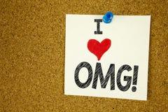 Έμπνευση τίτλων κειμένων γραψίματος χεριών που παρουσιάζει στην αγάπη OMG OH Ι έννοια Θεών μου που σημαίνει την αγάπη αιφνιδιαστι Στοκ Εικόνα