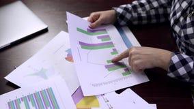 Έμπορος που αναλύει τα εισοδηματικές διαγράμματα και τις γραφικές παραστάσεις χρυσή ιδιοκτησία βασικών πλήκτρων επιχειρησιακής έν φιλμ μικρού μήκους