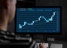 Έμπορος που εργάζεται σε έναν υπολογιστή Διάγραμμα χρηματιστηρίου Στοκ φωτογραφία με δικαίωμα ελεύθερης χρήσης