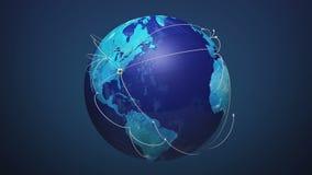 Έναρξη ΗΠΑ, συνδέοντας καλώδιο του τοπικού LAN, αυξανόμενο παγκόσμιο δίκτυο με την επικοινωνία, παγκόσμιος χάρτης, γη διανυσματική απεικόνιση