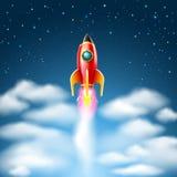 Έναρξη πυραύλων και πέταγμα στον έναστρο ουρανό επίσης corel σύρετε το διάνυσμα απεικόνισης Στοκ Εικόνες