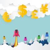 Έναρξη πυραύλων στο αμερικανικό δολάριο, ευρώ, λίβρα της Μεγάλης Βρετανίας, ιαπωνικά διανυσματική απεικόνιση
