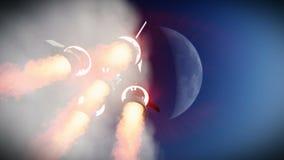 Έναρξη πυραύλων στο διαστημικό μήκος σε πόδηα διανυσματική απεικόνιση