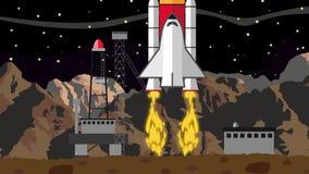 Έναρξη σαϊτών από έναν διαστημικό σταθμό προώθησης στην έναρξη NightShuttle από έναν διαστημικό σταθμό προώθησης σε μια έρημο τη  διανυσματική απεικόνιση