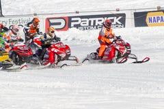 Έναρξη της φυλής οχήματος για το χιόνι Στοκ Εικόνες