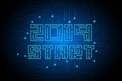 έναρξη του 2019 στο σχέδιο υποβάθρου τεχνολογίας κυκλωμάτων στοκ εικόνες με δικαίωμα ελεύθερης χρήσης