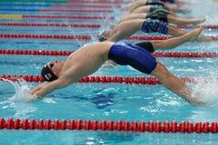 Έναρξη του ύπτιου που κολυμπά κατά τη διάρκεια του φλυτζανιού Salnikov στοκ φωτογραφίες