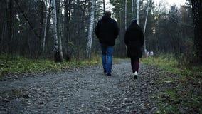 Ένας άνδρας και μια γυναίκα περπατούν στο πάρκο φθινοπώρου το βράδυ HD, 1920x1080, σε αργή κίνηση φιλμ μικρού μήκους