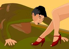 Ένας άνδρας φιλά τα πόδια των γυναικών ελεύθερη απεικόνιση δικαιώματος