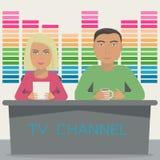 Ένας άνδρας και μια γυναίκα είναι άγκυρες στην τηλεοπτική εκπομπή στο στούντιο Η TV παρουσιάζει ότι με την άγκυρα 2 επανδρώνει στ απεικόνιση αποθεμάτων