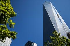 Ένας ΑΜΕΡΙΚΑΝΙΚΟΣ ορίζοντας η μεγάλη Apple 4 πόλεων της Νέας Υόρκης κατασκευής του World Trade Center Στοκ φωτογραφία με δικαίωμα ελεύθερης χρήσης