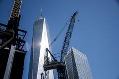 Ένας ΑΜΕΡΙΚΑΝΙΚΟΣ ορίζοντας η μεγάλη Apple πόλεων της Νέας Υόρκης κατασκευής του World Trade Center Στοκ Εικόνα