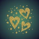 Ένας λαμπρός χρυσός κοσμήματος ακτινοβολεί υπό μορφή συρμένου χέρι συμβόλου καρδιών αγάπης Κομψή διακόσμηση των χρυσών στρογγυλών ελεύθερη απεικόνιση δικαιώματος