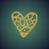 Ένας λαμπρός χρυσός κοσμήματος ακτινοβολεί υπό μορφή συρμένου χέρι συμβόλου καρδιών αγάπης Κομψή διακόσμηση των χρυσών στρογγυλών διανυσματική απεικόνιση