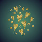 Ένας λαμπρός χρυσός κοσμήματος ακτινοβολεί υπό μορφή συρμένου χέρι συμβόλου καρδιών αγάπης Κομψή διακόσμηση των χρυσών στρογγυλών απεικόνιση αποθεμάτων