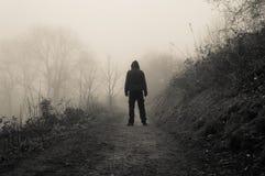 Ένας απόκοσμος με κουκούλα αριθμός που στέκεται σε μια πορεία χωρών μια μυστηριώδη ομιχλώδη χειμερινή ημέρα στοκ εικόνες