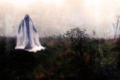 Ένας απόκοσμος πνευματικός αριθμός που στέκεται στην επαρχία μια ομιχλώδη χειμερινή ημέρα με έναν τρύγο, grunge εκδίδει στοκ φωτογραφία με δικαίωμα ελεύθερης χρήσης